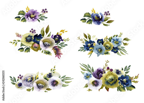 Fotografering  Collection watercolor wedding bouquet flowers green and purple flowers ornament