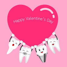 Cute Cartoon Happy Tooth Take Red Heart. Valentine's Day Concept. Illustration On Pink Background.