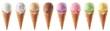Leinwandbild Motiv Set of various ice cream scoops in waffle cones
