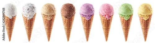 Set of various ice cream scoops in waffle cones