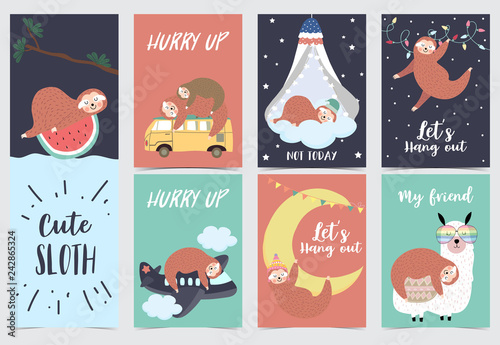 Fotomural  Hand drawn cute card with sloth,orange,watermelon,tree,llama,bed,moon and airpla