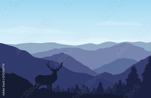Foto op Plexiglas Purper Beautiful mountain and forest landscape on sunny day. Vector Illustration