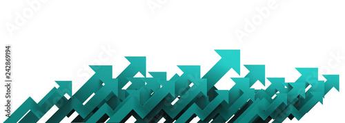 Fotografie, Obraz  Green arrow. Growing business background concept.3D rendering.