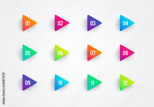 Canvas Print Vector Arrow Bullet Point Triangle Flags Colorful Gradient 3d Markers With Numbe