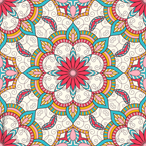Foto auf AluDibond Boho-Stil Decorative colorful ethnic seamless pattern for fabric or wrapping in oriental style. Hand drawn illustration