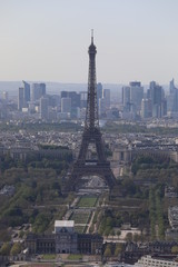 Close up top view of the streets and buildings of Paris and the Eiffile Tower