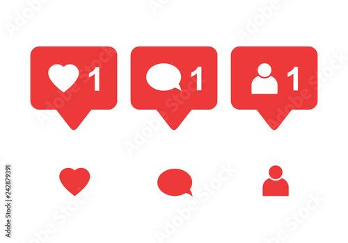 Obraz Like icon vector. Comment icon vector. Follower icon vector. Social media. Social network. Notification Icon. - fototapety do salonu