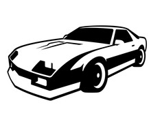 Retro Muscle Car Vector Illustration On White