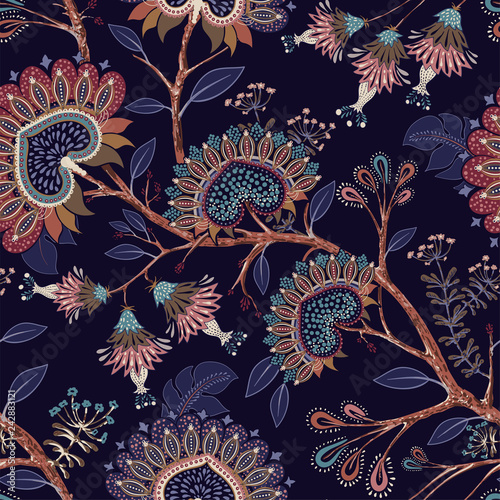 Colorful Wallpaper With Paisley And Decorative Plants