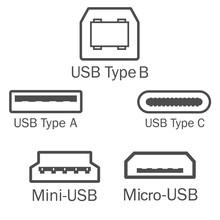 Usb Port Icon Set. Vector Illustration, Flat Design.