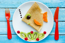 Funny Pancakes With Fruits Shaped Fish For Kids Breakfast