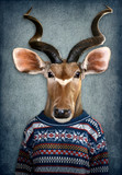 Antelope in clothes. Man with a head of an antelope. Concept graphic in vintage style with soft oil painting style - 242889368