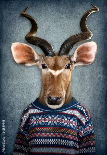 Poster Animaux de Hipster Antelope in clothes. Man with a head of an antelope. Concept graphic in vintage style with soft oil painting style