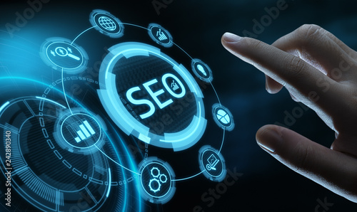 SEO Search Engine Optimization Marketing Ranking Traffic Website Internet Business Technology Concept