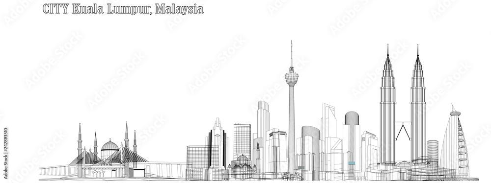 Fototapeta Vector City of Kuala Lumpur, Malaysia