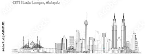 Vector City of Kuala Lumpur, Malaysia Wallpaper Mural