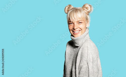 Fotografie, Tablou  Portrait of young charming woman feeling happy in trendy warm knitted sweater
