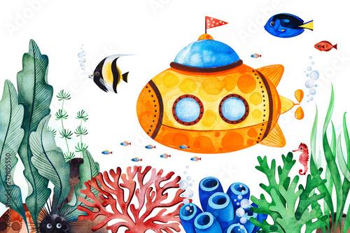 Fototapeta premium Wstępnie wykonana kartka z życzeniami ze stworzeniami podwodnymi z wielobarwnymi koralowcami, wodorostami, rybami, konikiem morskim i żółtą łodzią podwodną Idealna na zaproszenie, urodziny, do druku, projekt rzemieślniczy, baby shower, tekstura.