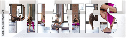 Fototapeta Collage of pilates training, stretching and fitness. Diverse group of young people doing exercises together in a gym with an overlay of the word pilates. obraz