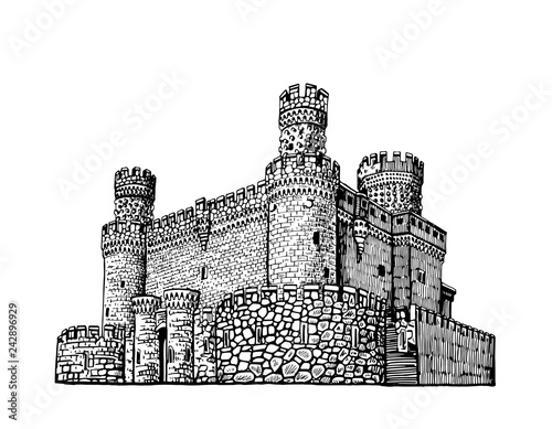 Obraz na plátně Graphical Manzanares el Real Castle isolated on white background, 15 century fortress, Madrid,Spain