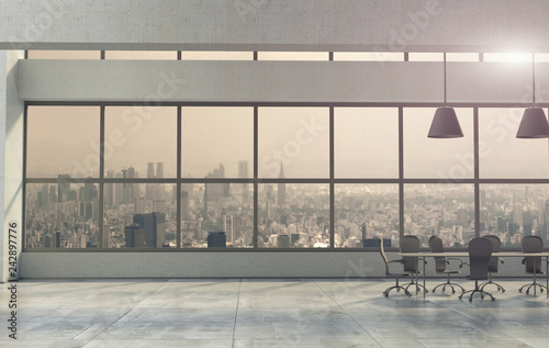 Fotografía  The modern spacious office interior. 3D render