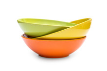 Stack Of Colorful Bowls On Whi...