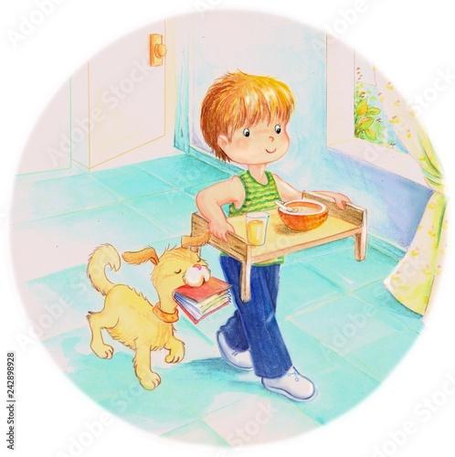 niño y perro llevando el desayuno. dibujo en caricatura. - Buy ...