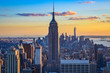 New York City skyline during the sunset from the Top of the Rock (Rockefeller Center), United States