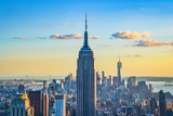 Fototapeta Nowy York - New York City skyline during the sunset from the Top of the Rock (Rockefeller Center), United States