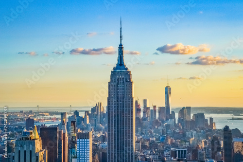 Tela  New York City skyline during the sunset from the Top of the Rock (Rockefeller Ce