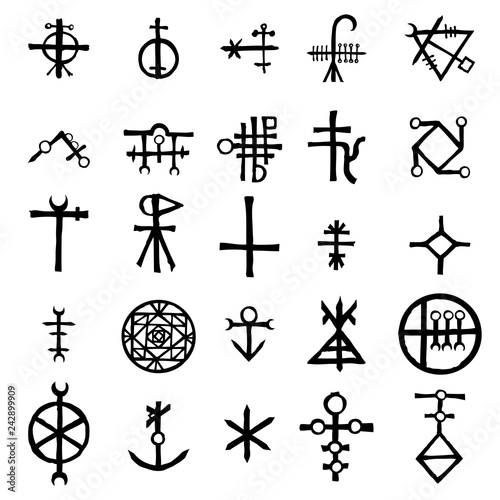 Fototapeta Mystic set with magic circles, pentagram and imaginary chakras symbols