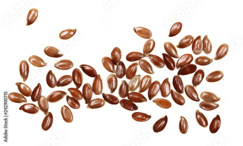 flax seeds macro isolated on white background, top view