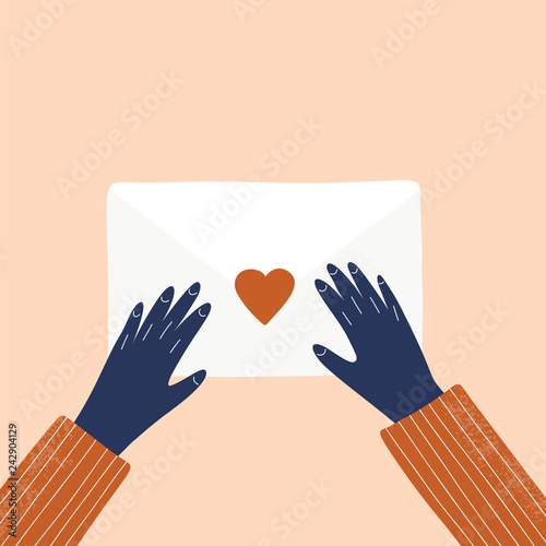 Fotografie, Obraz Love letter and hands vector hand drawn illustration
