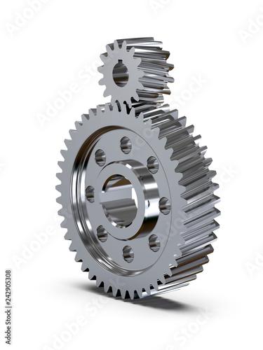 Fotografie, Tablou  Helical bevel gear. Low-speed gear train. 3D rendering
