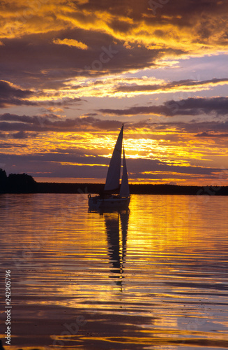 Sailboat on the Nidzkie lake, Masuria, Poland