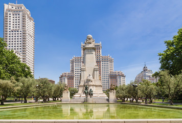 Madrid, Spain. The picturesque memorial of Cervantes on the Plaza of Spain