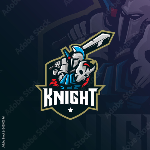 Photo  knight mascot logo design vector with modern illustration concept style for badge, emblem and tshirt printing