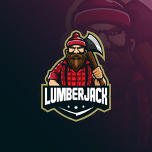 Lumberjack Mascot Logo Design Vector With Modern Illustration Concept Style For Badge, Emblem And T Shirt Printing. Lumberjack Illustration With Axes.