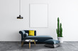 Leinwanddruck Bild - White living room, sofa and poster