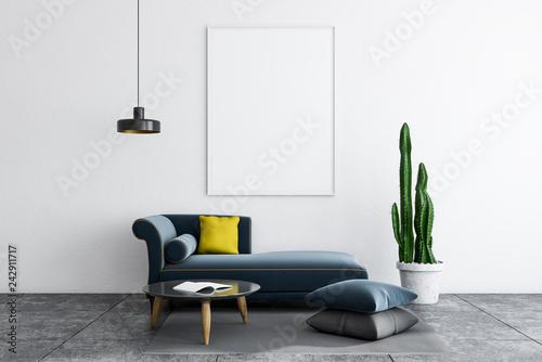 Fototapeta White living room, sofa and poster obraz