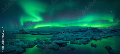 Printed kitchen splashbacks Northern lights Jokulsarlon Aurora