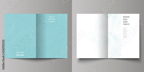 Fotografia  The vector layout of two A4 format modern cover mockups design templates for bifold brochure, magazine, flyer, booklet, annual report