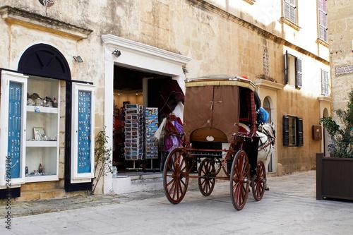 Foto  Kutschfahrt für Touristen durch historische Altstadt von Mdina