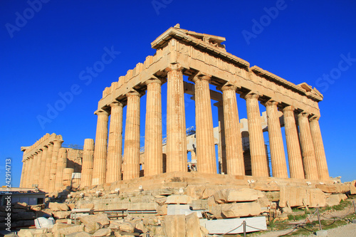 Poster Athens The Parthenon on the Acropolis in Athens, Greece with a beautiful blue sky copy space and no people.