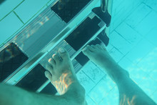 Underwater Photo, Man Feet Ste...