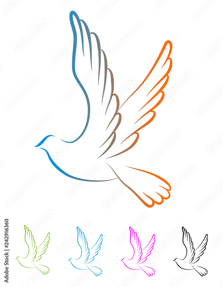 Flying Dove bird peaceful logo vector eps 10 - Vector