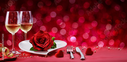 Romantic Dinner - Table Setting For Valentine's Day