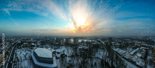 Fototapeten New York Dramatic scenery sunset of the city centre at Zabrze. Poland.