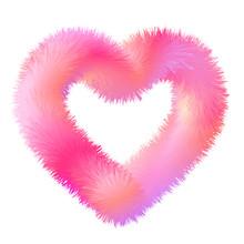 3d Fluffy Fur Contour Heart, Stock Vector Illustration Clip Art