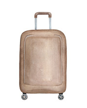 Big Vertical Suitcase Handmade Illustration. One Single Object, Dark Beige Colour, Rectangular Shape, Rounded Corners. Handdrawn Water Color Sketchy Painting On White, Cutout Clip Art Design Element.